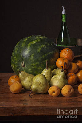 Bodegon - Watermelon-pears And Cooler Art Print by Levin Rodriguez
