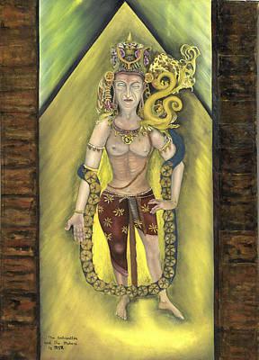 Bodhisatva And Makara Art Print by Michael Rowley
