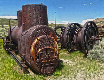 Painting - Bodie Ghost Town - Old Mining Equipment 03 by Gregory Dyer