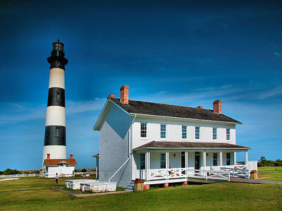 Bodie Island Lighthouse And Keepers Quarters Art Print by Steven Ainsworth