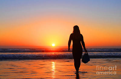Bodysurfer At Dusk Art Print by Sabino Cruz