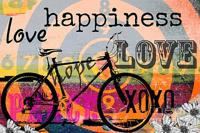Artyzen Studios Mixed Media - Bohemian Bicycle Love by Anahi DeCanio