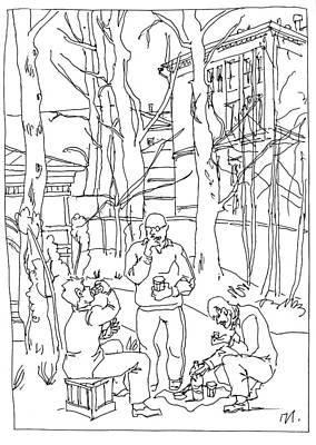 Nostalgia Drawing - Bois De Boulogne by Leonid Petrushin