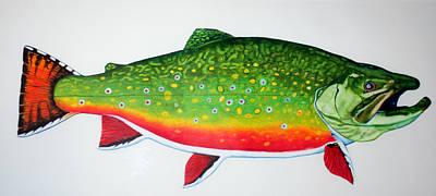 Brook Trout Drawing - Bonaparte Lake Trophy Brook Trout by Quinton Chapman