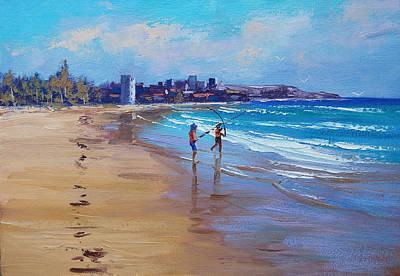Bondi Beach Painting - Bondi Beach Fishing by Graham Gercken