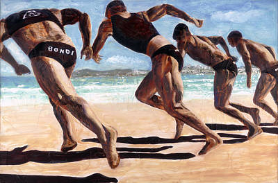 Painting - Bondi Boys by Gaye White