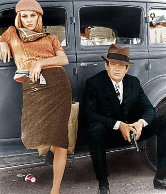 Pinstripes Photograph - Bonnie And Clyde, From Left Faye by Everett