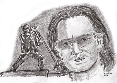 Bono Drawing - Bono by Chris  DelVecchio