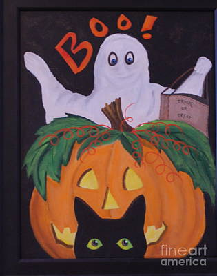 Painting - Boo-happy Halloween by Janna Columbus