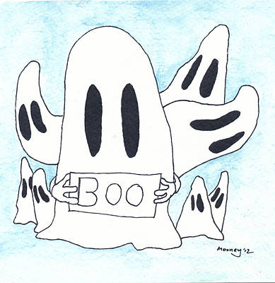 Watercolor With Pen Drawing - BOO by Michael Mooney