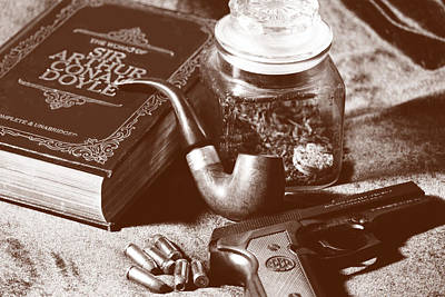 Photograph - Books And Bullets-sepia by Barry Jones