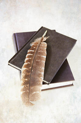 Hardcover Photograph - Books And Feather by HD Connelly