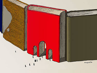 Drawing - Books Arch Of Triumph by Janusz Kapusta