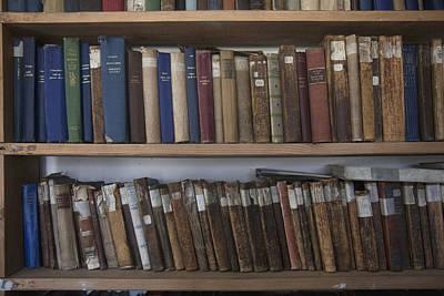 Books Line Shelves In The Library Art Print