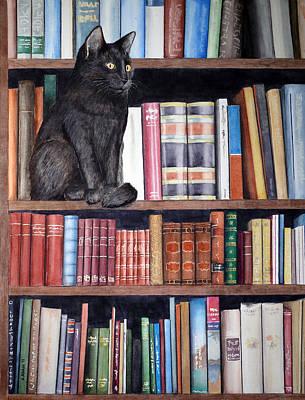 Bookshelf Painting - Bookshelf Cat by Angela Johnson