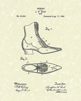 Drawing - Boot Design 1896 Patent Art by Prior Art Design