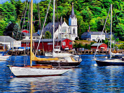 Tourism Digital Art - Boothbay Harbor by Stephen Younts