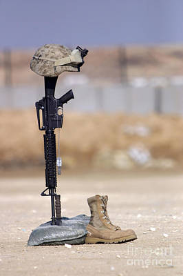 Photograph - Boots, Rifle, Dog Tags, And Protective by Stocktrek Images