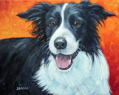 Herding Dog Painting - Border Collie On Red by Dottie Dracos