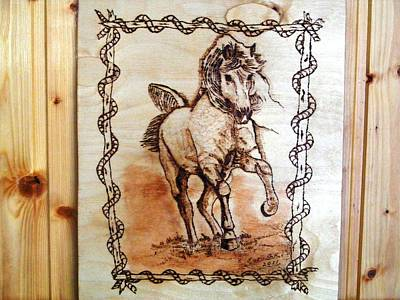 Born To Be Free-sylver  Horse Pyrography Art Print by Egri George-Christian