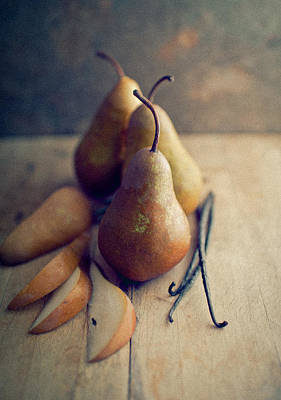 Bosc Pears And Vanilla Beans Art Print by Anna Hoychuk