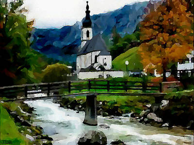 Slavic Digital Art - Bosnian Country Church by Jann Paxton