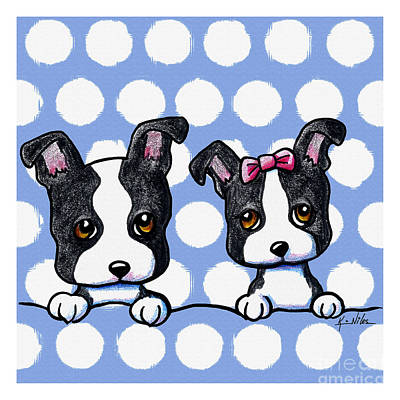 Terrier Digital Art - Boston Babies On Blue by Kim Niles