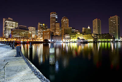 Boston Harbor Nightscape Art Print by Shane Psaltis