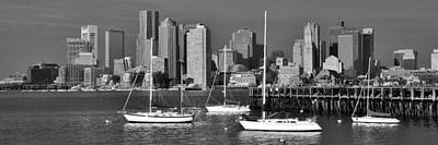 Photograph - Boston Skyline In Early Morning Black And White Panorama Harbor Sail Boats by Jon Holiday