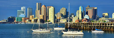 Photograph - Boston Skyline In Early Morning Panorama Harbor Sail Boats by Jon Holiday