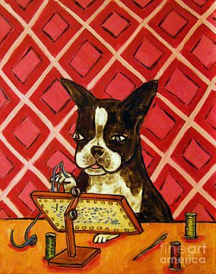 Needlepoint Painting - Boston Terrier Doing Needlepoint by Jay  Schmetz