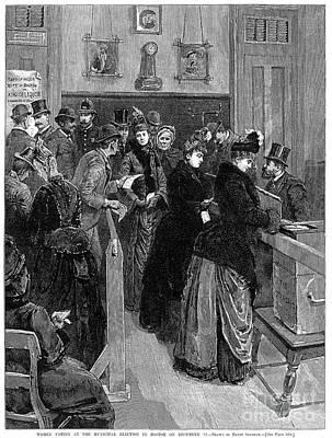 Ballot Wall Art - Photograph - Boston: Women Voting, 1888 by Granger