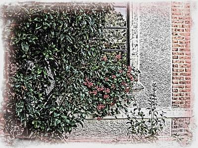 Comic Character Paintings - Botanical with Window by Joan  Minchak