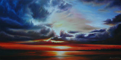 Abstract Realism Painting - Botany Bay Sunrise by James Christopher Hill