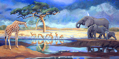 Painting - Botswana Watering Hole by Susan McNally