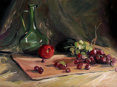 Painting - Bottle Avacado And Grapes by Nancy Griswold