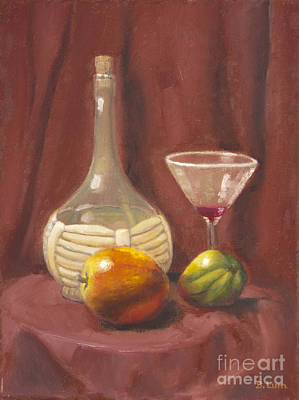 Bottle Glass And Fruits Art Print by Bruce Lum