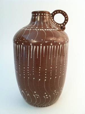 Hand Thrown Pottery Ceramic Art - Bottle Of Deep Red Clay With White Slip Decoration And A Handle by Carolyn Coffey Wallace