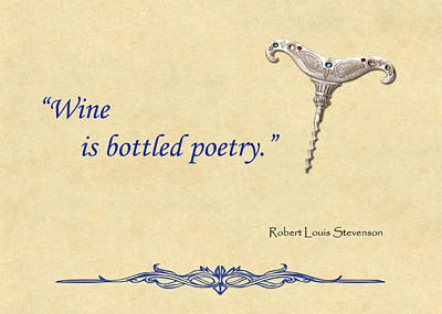 Sparkling Wines Digital Art - Bottled Poetry by Elaine Plesser