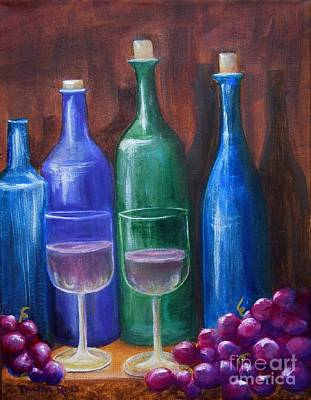 Bottles And Grapes Art Print by Pauline Ross
