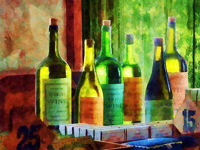 Photograph - Bottles Of Wine Near Window by Susan Savad