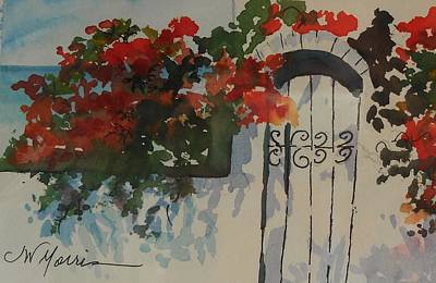 Watercolor With Pen Mixed Media - Bougainvillea At My Beach Cottage by Jill Morris