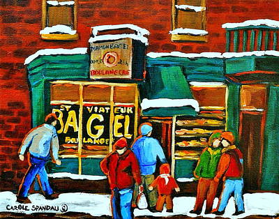 Boulangerie St.viateur Scene De Rue De Montreal En Hiver Art Print by Carole Spandau