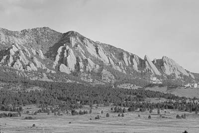 Photograph - Boulder Colorado Flatiron Scenic View With Ncar Bw by James BO Insogna