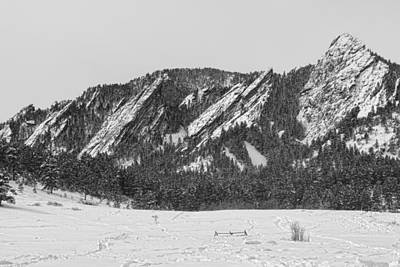 Photograph - Boulder Colorado Flatirons With Snow Bw by James BO Insogna
