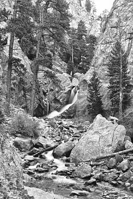 Photograph - Boulder Falls Long View Back And White by James BO  Insogna