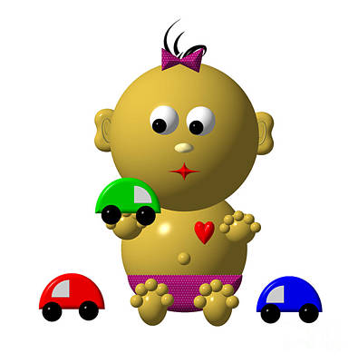 Digital Art - Bouncing Baby Girl With 3 Toy Cars by Rose Santuci-Sofranko