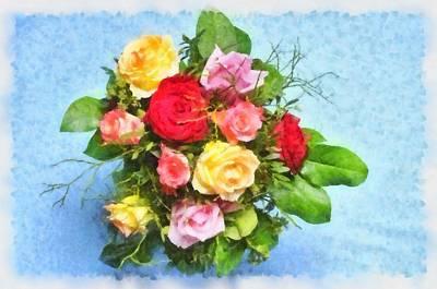 Bouquet Of Colorful Flowers - Digital Watercolor Painting Art Print by Matthias Hauser