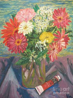 Painting - Bouquet With Paint by Judy Via-Wolff
