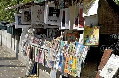 Bouquiniste Book Seller At Quays Of Seine Paris Art Print by Bernard Jaubert